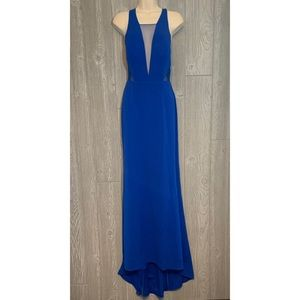 Adrianna Papell Royal Blue Maxi Dress Gown 4 NWT